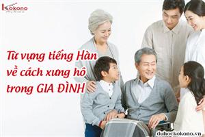Từ vựng tiếng Hàn về cách xưng hô trong gia đình