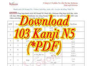 Tài liệu Tổng hợp danh sách 103 Kanji N5 - PDF